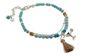 Turquoise crystal stone bracelet with charms