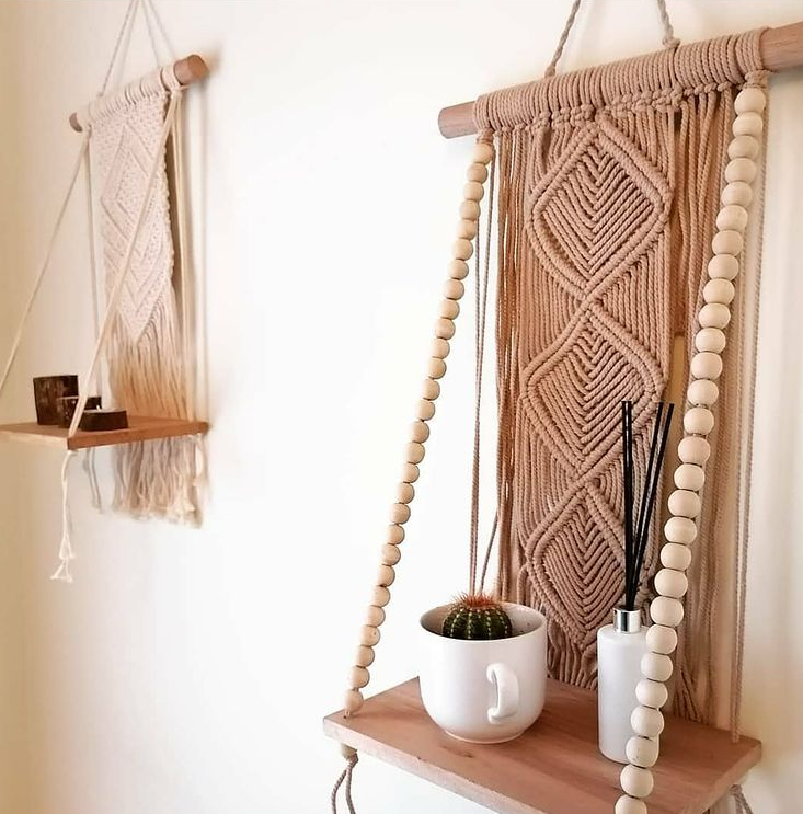 Boho style baby nursery decor - beaded shelf