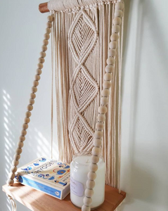 Hygge boho macrame shelf