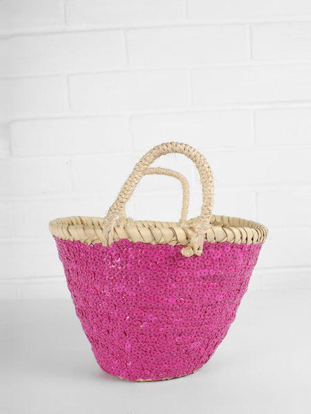 Pink sequins basket ethically made