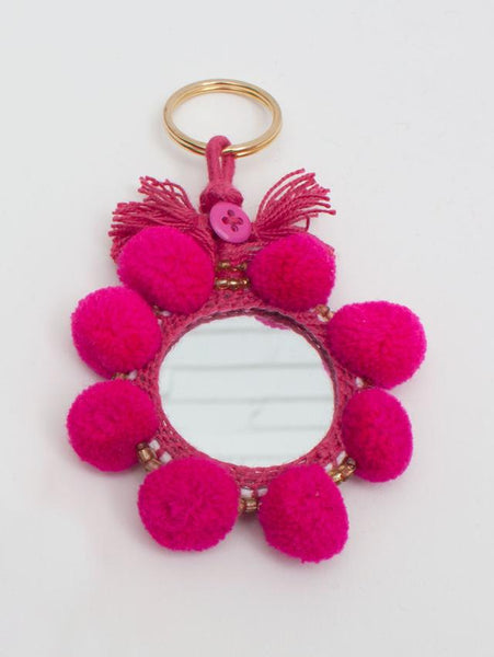 POM POM MIRROR KEYRING HANDCRAFTED IN INDIA HANDBAG ACCESSORIES – The  Temple Wolf 5316cba75