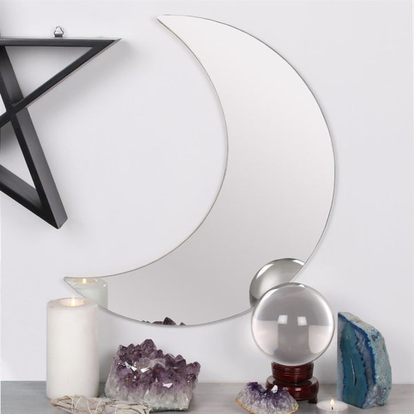 Crescent moon mirror on alter with crystals - Witch vibes from THE TEMPLE WOLF