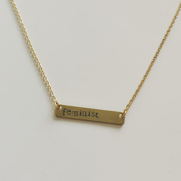 FEMINIST STAMPED NECKLACE