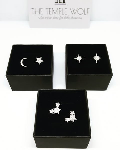 COMPASS STAR EARRINGS (STERLING SILVER)