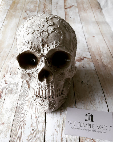 Floral skull Ireland The Temple Wolf boho shop