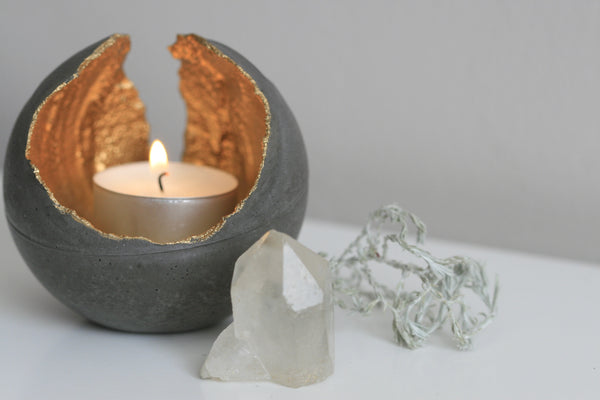 KAIKO concrete metallic tealight holder Boho home Ireland