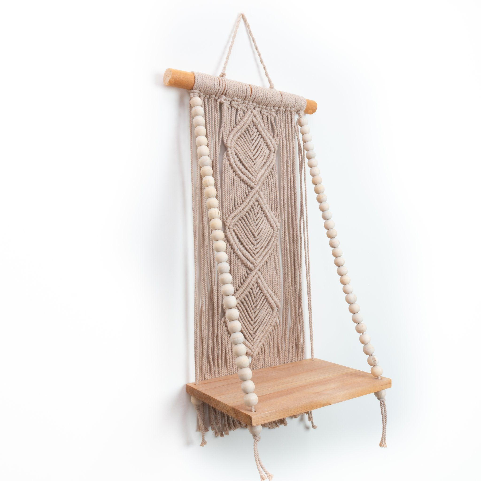 Warm tan macrame beaded shelf boho style