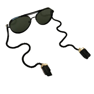 Black sunglasses with tourmaline crystal chain unisex