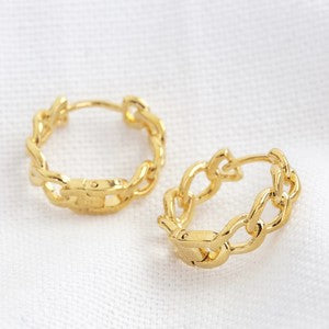 Gold huggie hoop chain earrings boho style jewellery Ireland