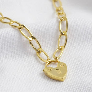Chunky gold chain padlock necklace