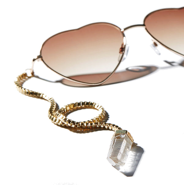Heart sunglasses with quartz gold plated crystal chain Bohemian style accessories Ireland