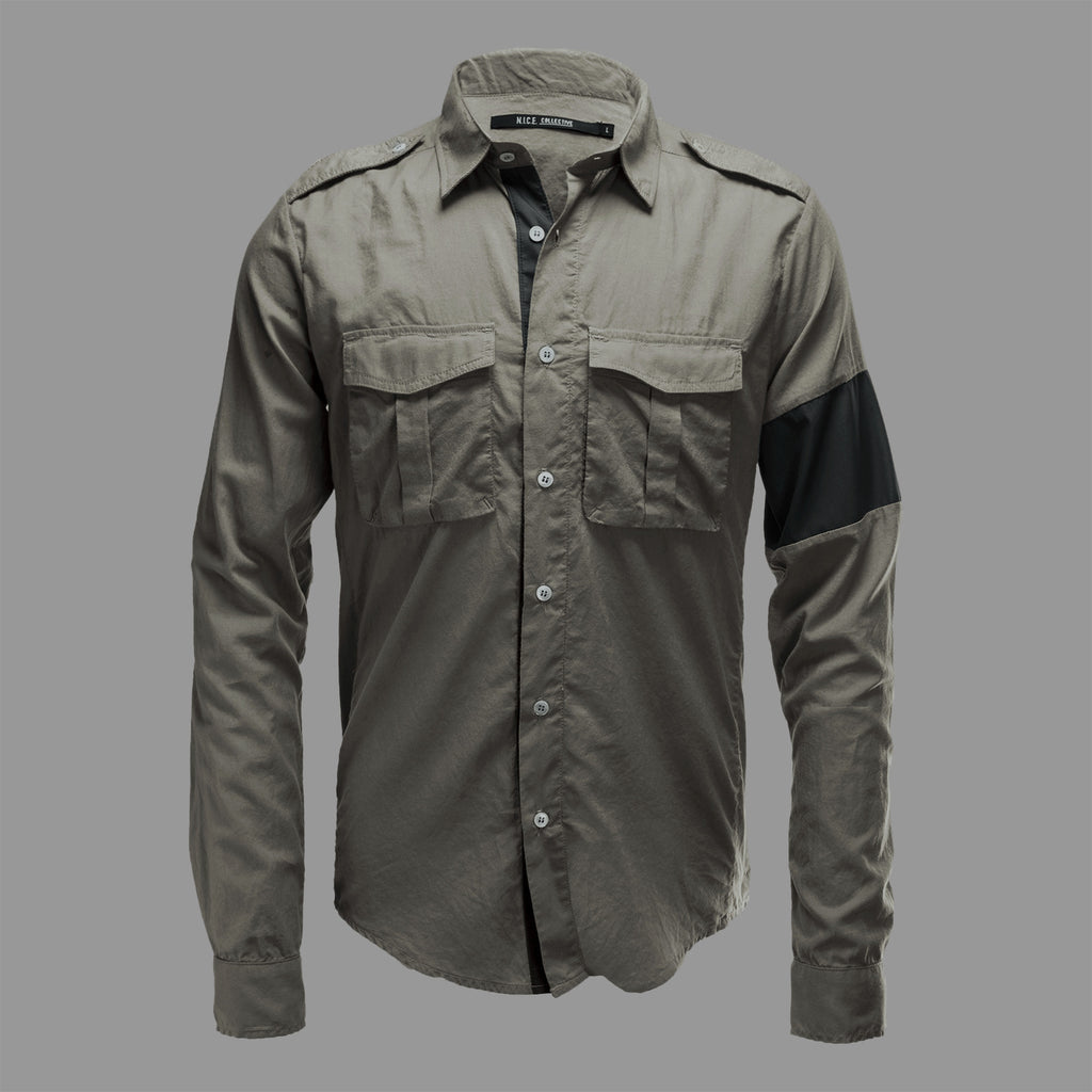 MILITARY BUTTON UP OLIVE