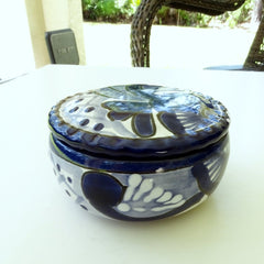 100% Beeswax Candle 12 Hours Burn, Talavera Blue Ceramic Decorative Jar, Handmade Gift - BCandle