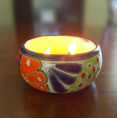 100% Beeswax Candle 12 Hours Burn, Talavera Ceramic Decorative Jar, Handmade Gift - BCandle