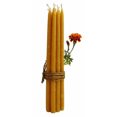 "100% Beeswax Candles - 7 1/2"" Tall, 3/8"" Thick (Set of 12), Porcelain Holder - BCandle"