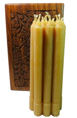 100% Beeswax Candles Tapers - 8 Inch Tall, 3/4 Inch Diameter, (Set of 12), Wood Box - BCandle