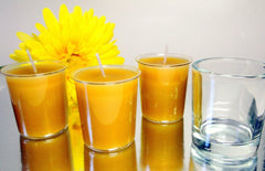 "100% Beeswax Votives Candles - 2"" Tall, and One Glass Votive Holder - BCandle"