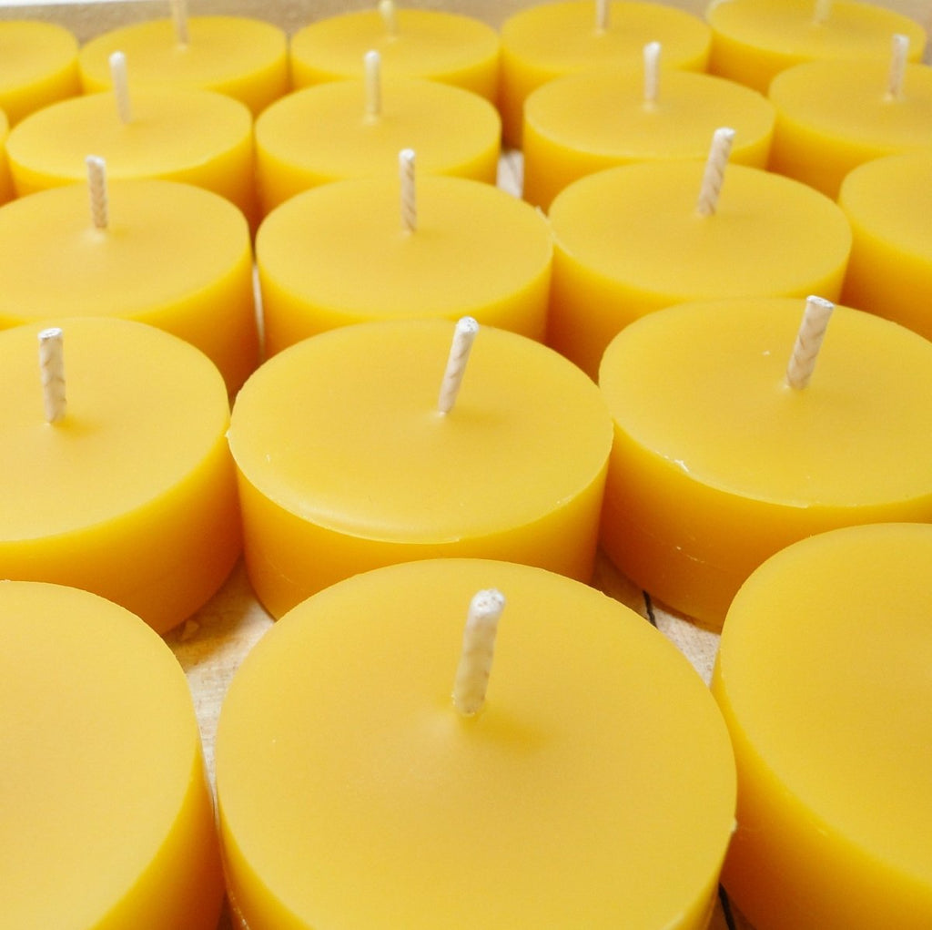 100% Pure Raw Beeswax Tea Lights Candles Organic Hand Made - BCandle