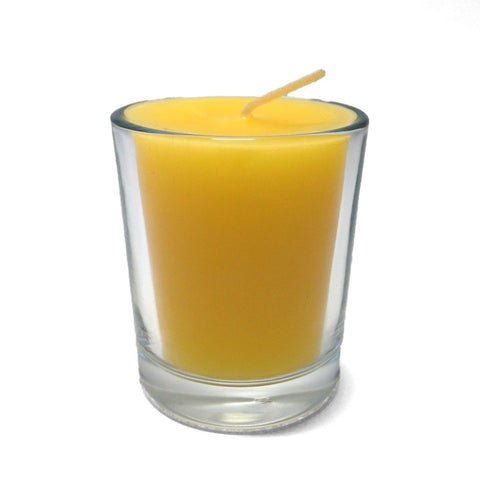 100% Pure Raw Beeswax Votive Candles in Clear Glass Holder - BCandle