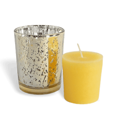 100% Pure Raw Beeswax Votive Candles in Gold Mercury Glass Holder - BCandle