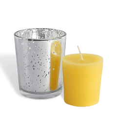 100% Pure Raw Beeswax Votive Candles in Silver Mercury Glass Holder - BCandle