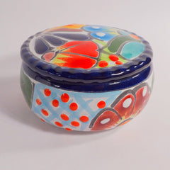 Ceramic Tealight Candle Holder - Hand Crafted, Mexican Telavera, Jar with Lid - BCandle