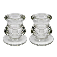 Clear Glass Taper Candle Holders: 2.25 inches Tall, 2 Pack - BCandle