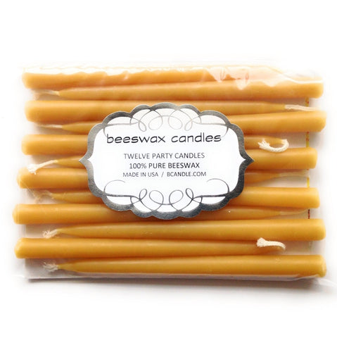 Hand-dipped Beeswax Birthday Party Candles / Natural (set of 12) - BCandle