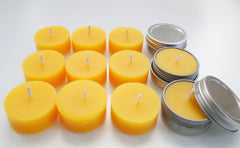 Set 100% Beeswax Tea Light in Flat Tin Container with Screwtop Cover, For Camp, Outdoor, Sports Events, Fishing - BCandle