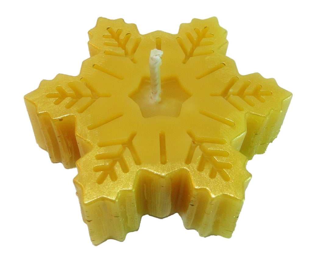 "Snowflake Candle - Beeswax Candles - Decorative Beeswax Candle - 2 3/4"" x 7/8"" - BCandle"