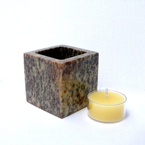 Soapstone Tealight Candle Holder - Hand Crafted, Natural Stone - BCandle
