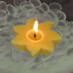 Sun Floating Candles/Set of 6 Yellow Beeswax Sun Shaped Candles/Home and Garden Decor/Housewarming Gift/Unisex Gift Idea - BCandle