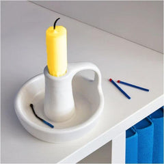 Taper Candlestick Holder, Ceramic White for Taper Candles - BCandle
