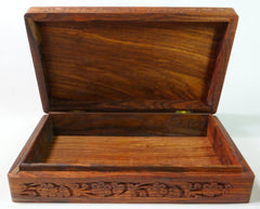 "Wooden Box 6""x10""x2.3"", Hand Carved Flowers & Vines Design - BCandle"