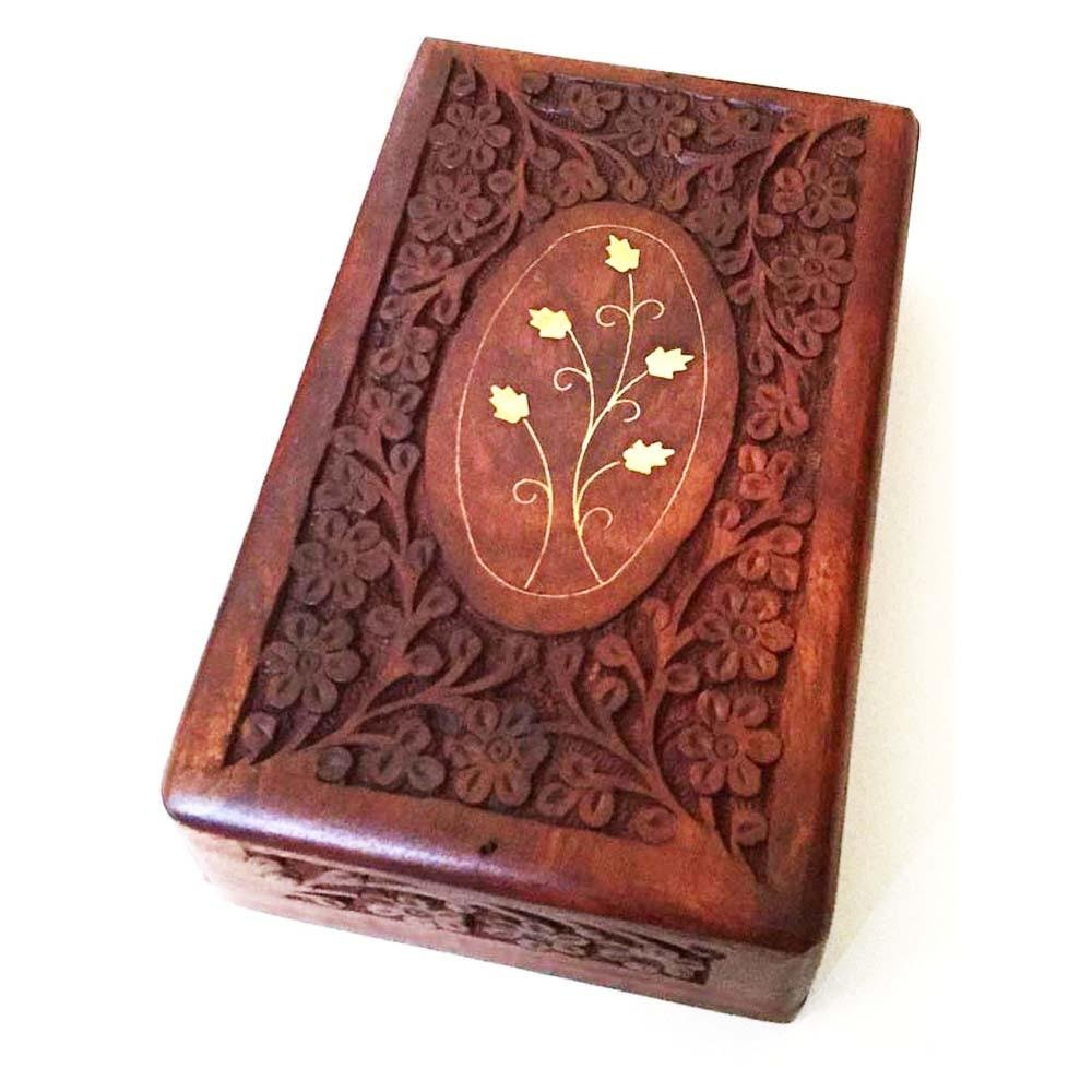 "Wooden Box 6""x10""x2.6"", Hand Carved Flowers & Vines Design, Brass Inlay - BCandle"