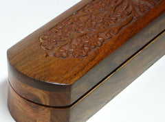Wooden Incense Box 2.5x12x2 Inch, Hand Carved Flowers & Vines Design - BCandle
