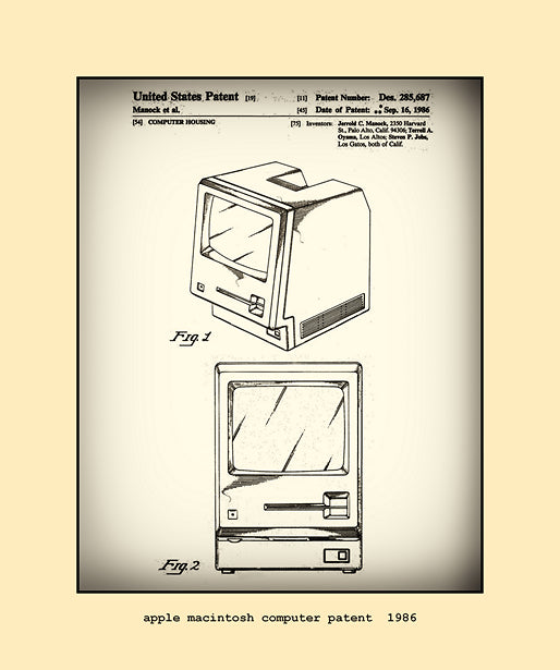 apple macintosh computer patent  1986