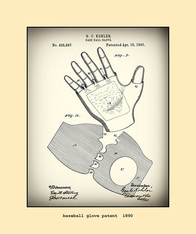 base ball glove patent  1890