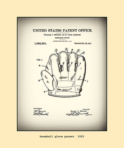 base ball glove patent  1912
