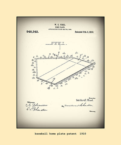 base ball home plate patent  1910
