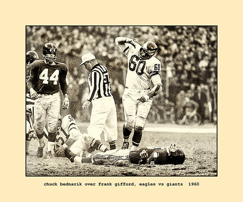 chuck bednarik over frank gifford, eagles vs giants  1960