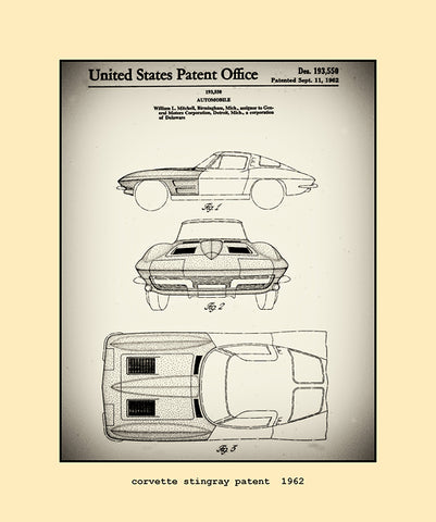 corvette stingray patent  1962