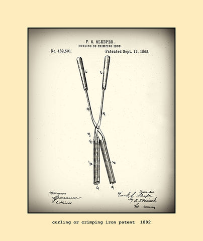 curling or crimping iron patent  1892