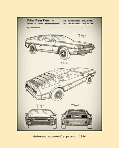 delorean automobile patent  1986