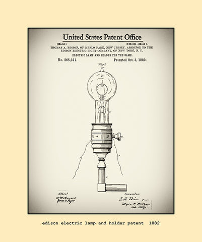 edison electric lamp and holder patent  1882