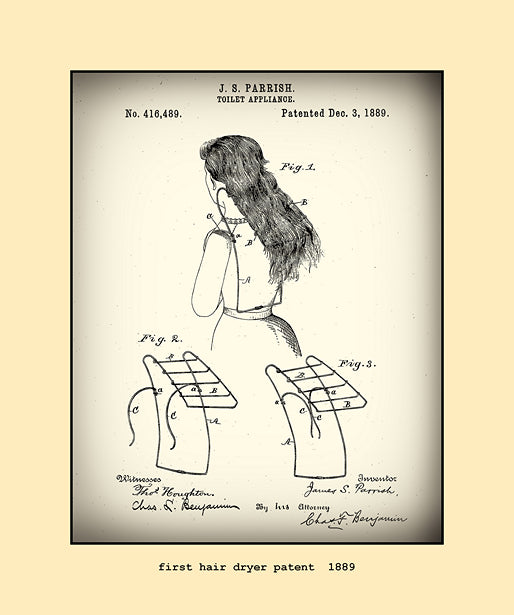 First Hair Dryer Patent 1889 The Vintage Image Shop
