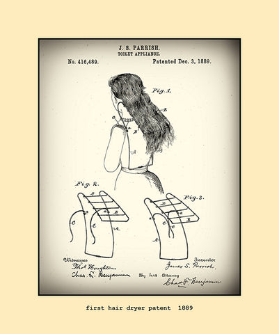 first hair dryer patent  1889