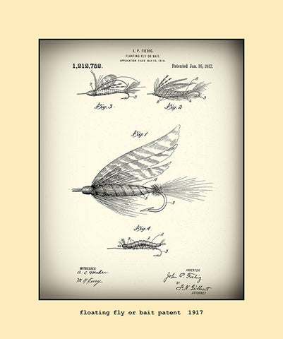 floating fly or bait patent 1917