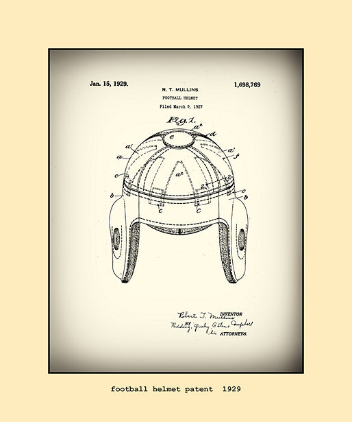 football helmet patent 1929