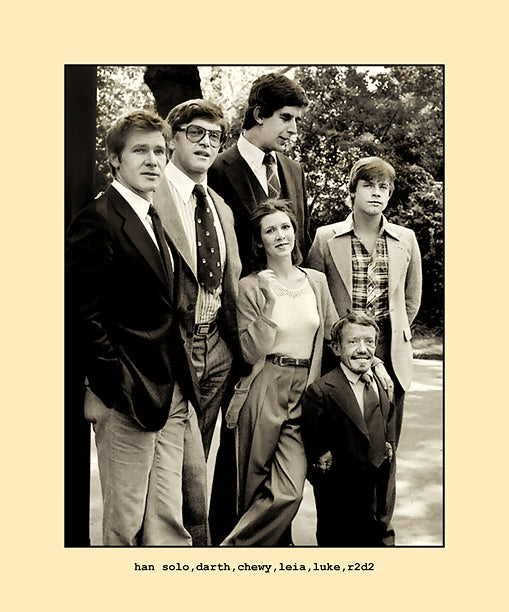 han, darth, chewy, leia, luke and r2d2  1977